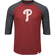 Majestic Men's Philadelphia Phillies Red/Grey Raglan Three-Quarter Sleeve Shirt