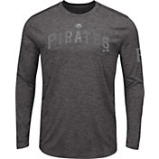 Majestic Men's Pittsburgh Pirates Grey Long Sleeve Shirt