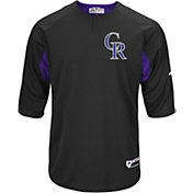 Majestic Men's Colorado Rockies Cool Base Black Authentic Collection Batting Practice Top
