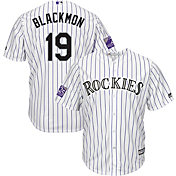 Majestic Men's Replica Colorado Rockies Charlie Blackmon #19 Cool Base Home White Jersey w/ 25th Anniversary Patch