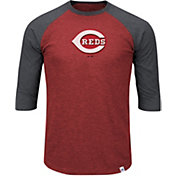 Majestic Men's Cincinnati Reds Red/Grey Raglan Three-Quarter Sleeve Shirt