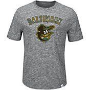 Majestic Men's Baltimore Orioles Exhibition Heathered Grey T-Shirt