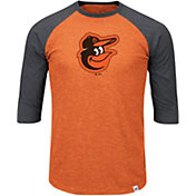 Majestic Men's Baltimore Orioles Orange/Grey Raglan Three-Quarter Sleeve Shirt