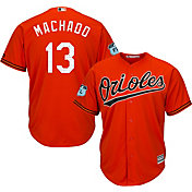 Majestic Men's Replica Baltimore Orioles Manny Machado #13 Cool Base Alternate Orange Jersey w/ 2017 Spring Training Patch