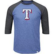Majestic Men's Texas Rangers Royal/Grey Raglan Three-Quarter Sleeve Shirt