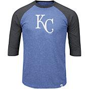 Majestic Men's Kansas City Royals Royal/Grey Raglan Three-Quarter Sleeve Shirt