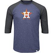 Majestic Men's Houston Astros Navy/Grey Raglan Three-Quarter Sleeve Shirt