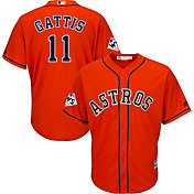 Majestic Men's 2017 World Series Replica Houston Astros Evan Gattis Cool Base Alternate Orange Jersey