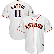 Majestic Men's 2017 World Series Replica Houston Astros Evan Gattis Cool Base Home White Jersey