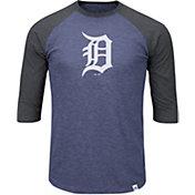 Majestic Men's Detroit Tigers Navy/Grey Raglan Three-Quarter Sleeve Shirt