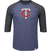 Majestic Men's Minnesota Twins Navy/Grey Raglan Three-Quarter Sleeve Shirt