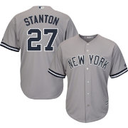 Majestic Men's Replica New York Yankees Giancarlo Stanton #27 Cool Base Road Grey Jersey