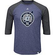 Majestic Men's New York Yankees Derek Jeter Jersey Retirement Navy/Grey Raglan Three-Quarter Sleeve Shirt
