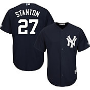Majestic Men's Replica New York Yankees Giancarlo Stanton #27 Cool Base Alternate Navy Jersey