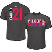 Majestic Men's Philadelphia 76ers Joel Embiid #21 Grey T-Shirt