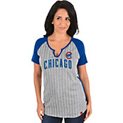 Majestic Women's Chicago Cubs Grey/Royal Notch Neck Shirt