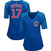 Majestic Women's Chicago Cubs Kris Bryant #17 Royal Raglan V-Neck Half-Length Sleeve Shirt