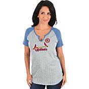 Majestic Women's St. Louis Cardinals Grey/Light Blue Notch Neck Shirt