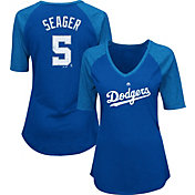 Majestic Women's Los Angeles Dodgers Corey Seager #5 Royal Raglan V-Neck Half-Length Sleeve Shirt