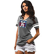 Majestic Women's Los Angeles Dodgers Grey Americana Notch Neck T-Shirt
