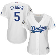 Majestic Women's 2017 World Series Replica Los Angeles Dodgers Corey Seager Cool Base Home White Jersey