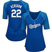 Majestic Women's Los Angeles Dodgers Clayton Kershaw #22 Royal Raglan V-Neck Half-Length Sleeve Shirt