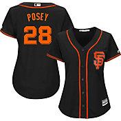 Majestic Women's Replica San Francisco Giants Buster Posey #28 Cool Base Alternate Black Jersey