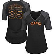 Majestic Women's San Francisco Giants Brandon Crawford #35 Black Raglan V-Neck Half-Length Sleeve Shirt