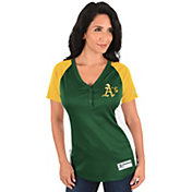 Majestic Women's Oakland Athletics Diva Green V-Neck T-Shirt