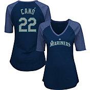 Majestic Women's Seattle Mariners Robinson Cano #22 Navy Raglan V-Neck Half-Length Sleeve Shirt