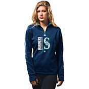 Majestic Women's Seattle Mariners Therma Base On-Field Navy Authentic Collection Quarter-Zip Pullover