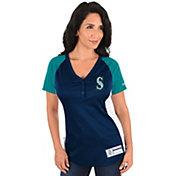 Majestic Women's Seattle Mariners Diva Navy V-Neck T-Shirt