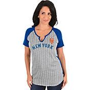 Majestic Women's New York Mets Grey/Royal Notch Neck Shirt