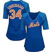 Majestic Women's New York Mets Noah Syndergaard #34 Royal Raglan V-Neck Half-Length Sleeve Shirt