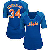 Majestic Women's New York Mets Noah Syndergaard #34 Royal Raglan V-Neck Half-Length Sleeve Shirt
