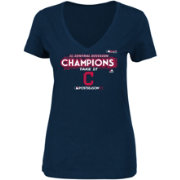 Majestic Women's Cleveland Indians 2017 AL Central Champions Locker Room Navy V-Neck T-Shirt