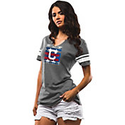 Majestic Women's Cleveland Indians Grey Americana Notch Neck T-Shirt