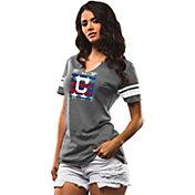 Majestic Women's Cleveland Indians Grey Americana Notch Neck T-Shirt