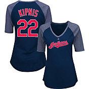 Majestic Women's Cleveland Indians Jason Kipnis #22 Navy Raglan V-Neck Half-Length Sleeve Shirt