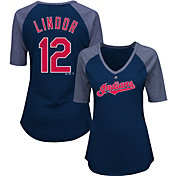 Majestic Women's Cleveland Indians Francisco Lindor #12 Navy Raglan V-Neck Half-Length Sleeve Shirt
