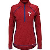 Majestic Women's Philadelphia Phillies Cool Base Red Half-Zip Pullover