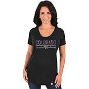 Majestic Women's Colorado Rockies Black Scoop Neck T-Shirt