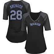 Majestic Women's Colorado Rockies Nolan Arenado #28 Black Raglan V-Neck Half-Length Sleeve Shirt