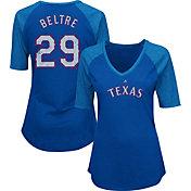 Majestic Women's Texas Rangers Adrian Beltre #29 Royal Raglan V-Neck Half-Length Sleeve Shirt