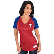 Majestic Women's Texas Rangers Diva Red V-Neck T-Shirt