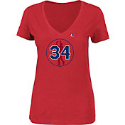 Majestic Women's Boston Red Sox David Ortiz #34 Jersey Retirement Logo Red T-Shirt
