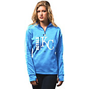Majestic Women's Kansas City Royals Therma Base On-Field Light Blue Authentic Collection Quarter-Zip Pullover