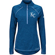Majestic Women's Kansas City Royals Cool Base Royal Half-Zip Pullover