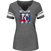 Majestic Women's Kansas City Royals Grey Americana Notch Neck T-Shirt