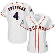 Majestic Women's 2017 World Series Champions Replica Houston Astros George Springer Cool Base Home White Jersey